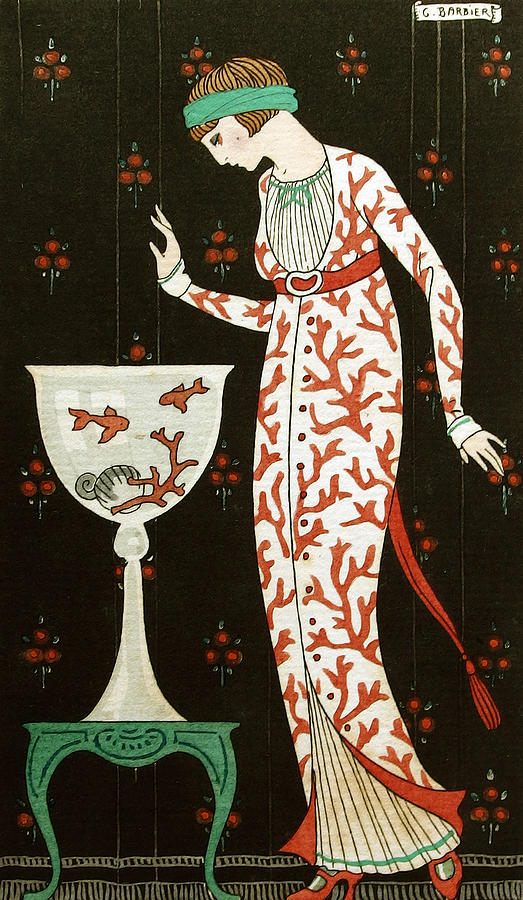 Barbier Painting - Girl With Fish Bowl by Georges Barbier