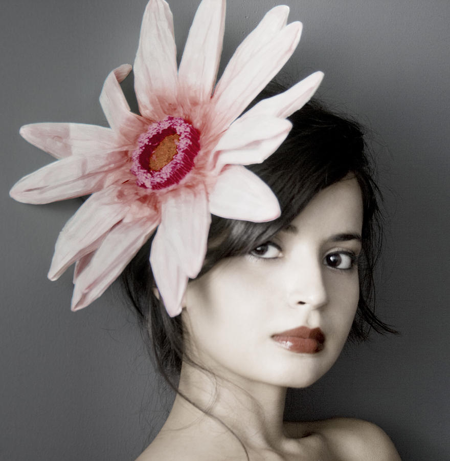 Girl Photograph - Girl With Flower by Emma Cleary