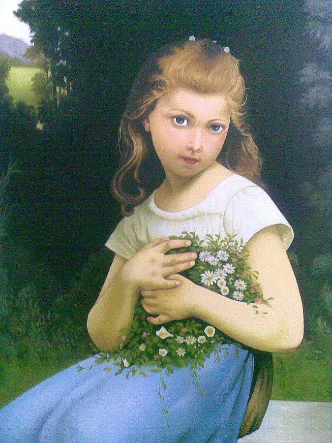Girl Painting - Girl With Flower by Samaneh Daemi