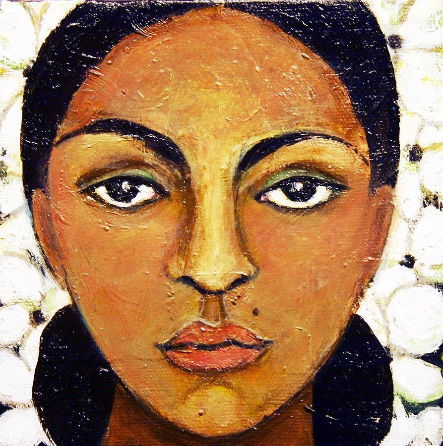 Figurative Painting - Girl With Flowers by Ci Ci Segura Gonzalez