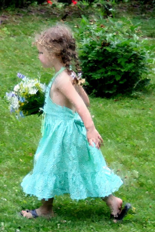 Girl With Flowers Photograph - Girl With Flowers by Diane Merkle