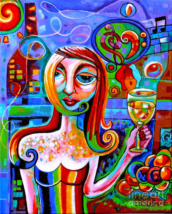 Wine Painting - Girl With Glass Of Chardonnay by Genevieve Esson