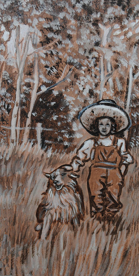Historical Painting - Girl With Hat And Dog Historical Vignette by Dawn Senior-Trask