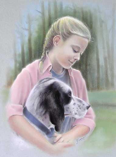 Girl With Her Dog Painting by Yvonne Seiwell