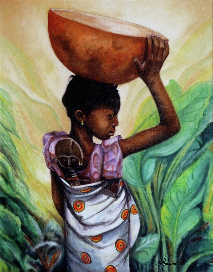 Girl Painting - Girl With Her Doll by Marcella Muhammad
