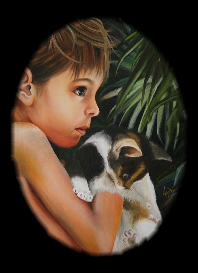 Kitten Painting - Girl With Kitten by Mary Brown