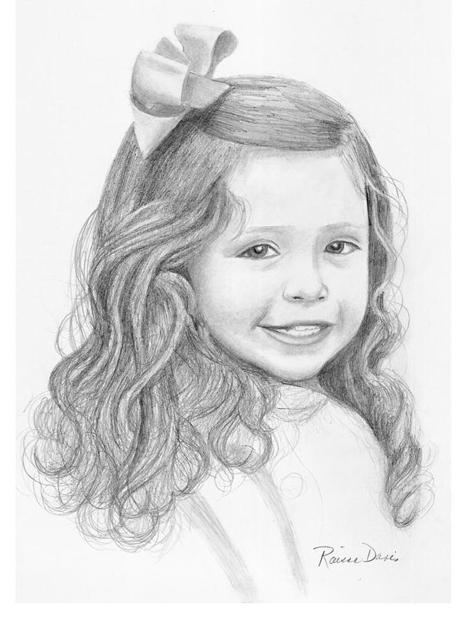 Child Drawing - Girl With Long Hair by Raissa Davis