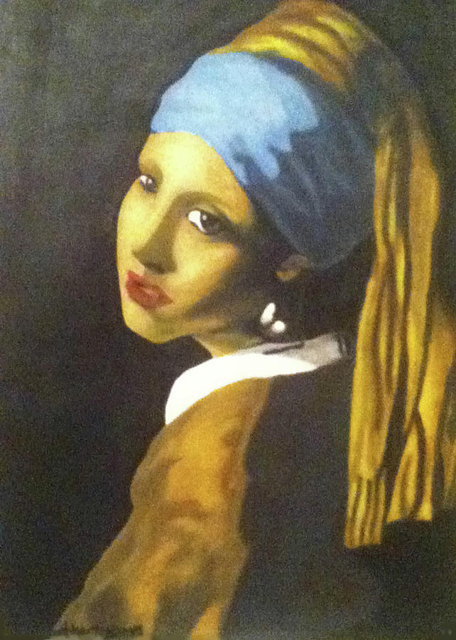 Oil Painting - Girl With Pearl Earring by Jayvon Thomas