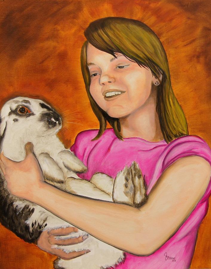 Girl Painting - Girl With Rabbit by John Stevens