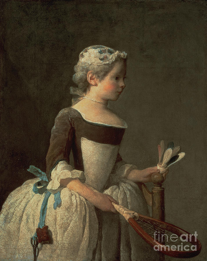Girl Painting - Girl With Racket And Shuttlecock by Jean-Baptiste Simeon Chardin