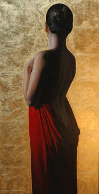 Female Painting - Girl With Red Drape With Gold by Toby Boothman