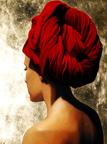 Female Painting - Girl With Red Turban by Toby Boothman
