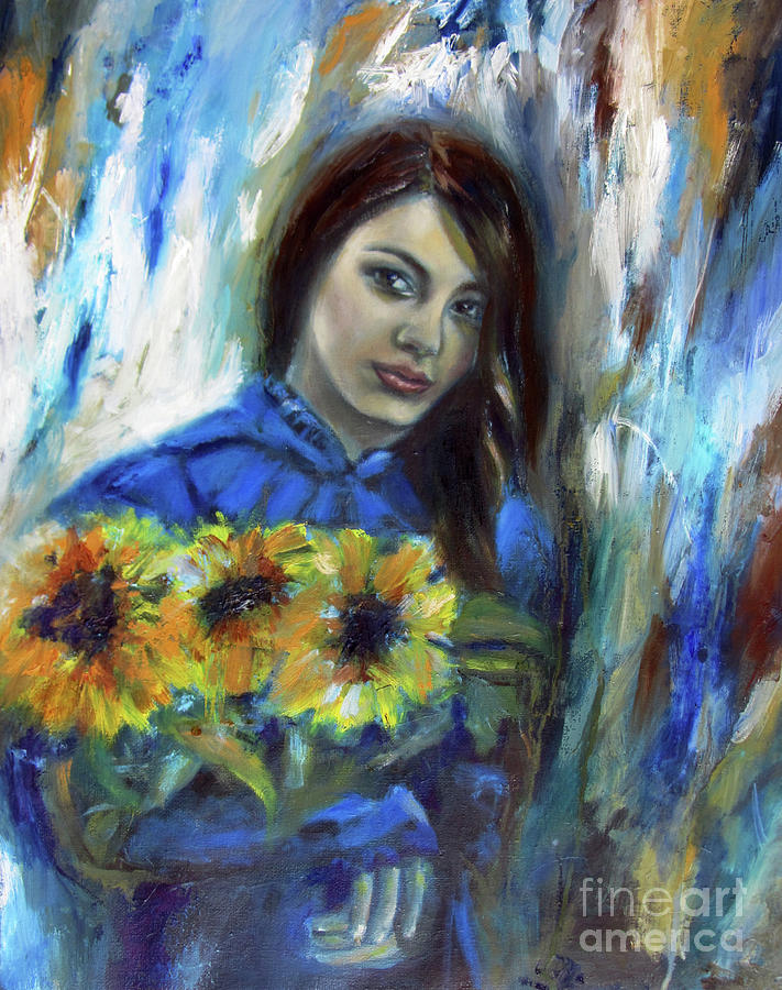 Girl with Sunflowers by Andrea Realpe