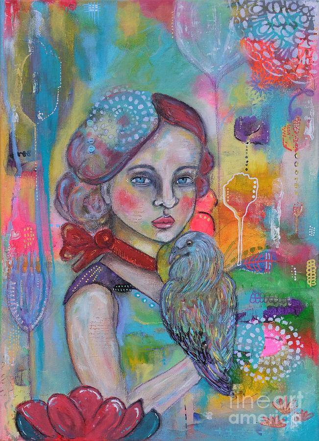 Whimsical Girl Painting - Girl With Nicobar Bird Original Canvas Painting by Cristina Parus