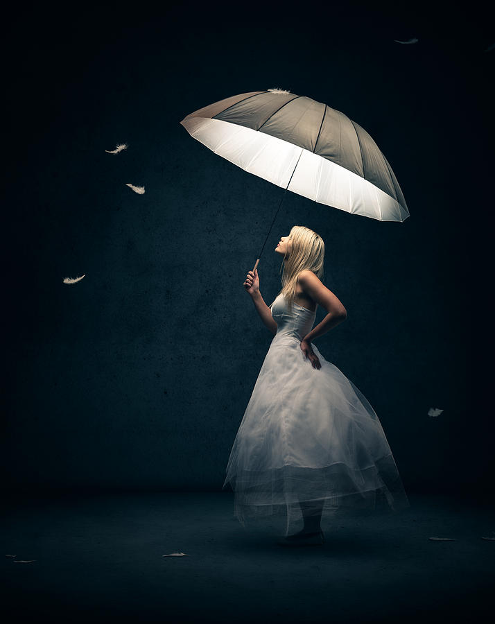 Girl with umbrella and falling feathers photograph by for Fine art photography sales