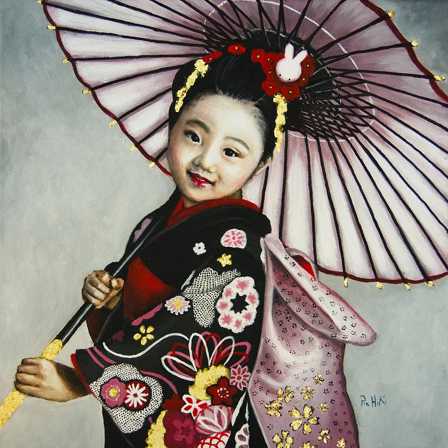 Japan Painting - Girl With Umbrella by Pia HiKi