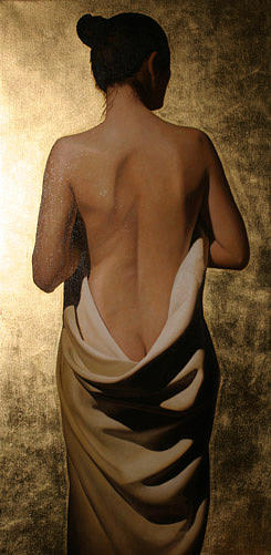 Painting Painting - Girl With White Drape With Gold Leaf by Toby Boothman