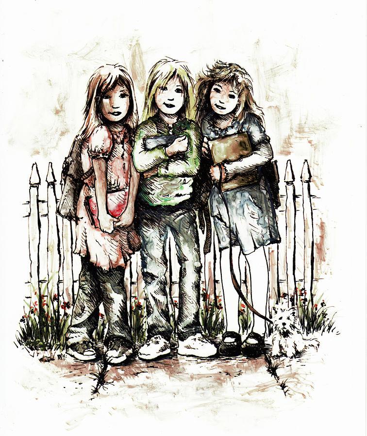 Figure Drawing - Girlfriends by Rachel Christine Nowicki