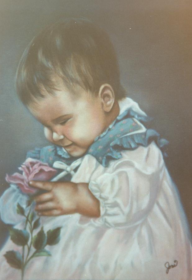 Child Painting - Girli Holding Rose by Joni McPherson