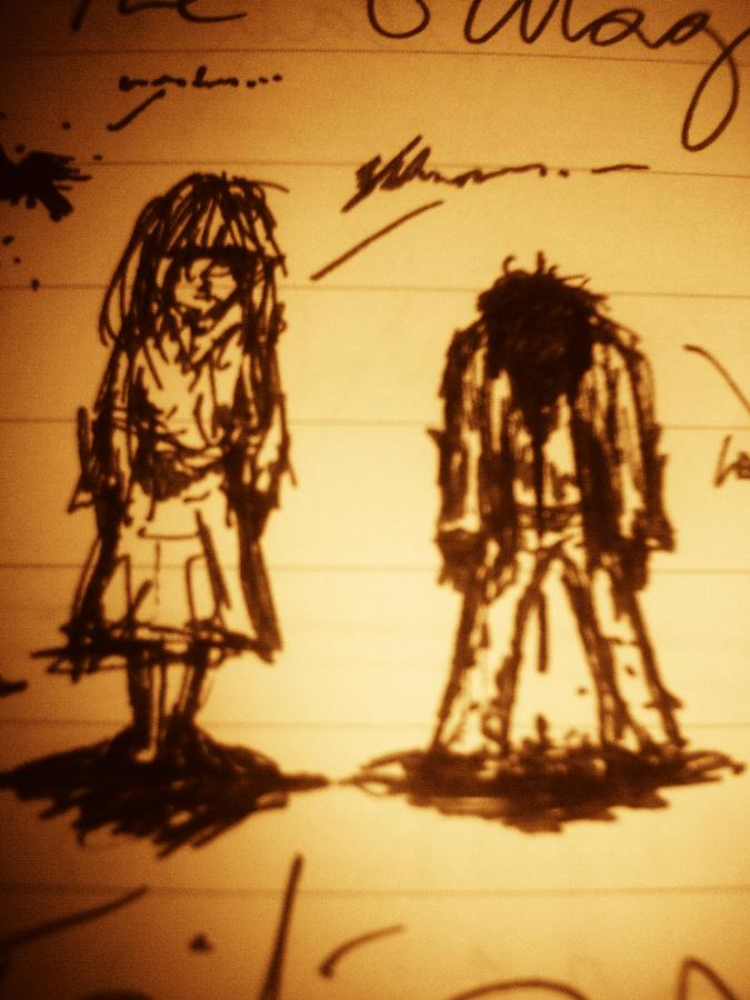 Sadness Drawing - Girls And Boys by John Mckeever