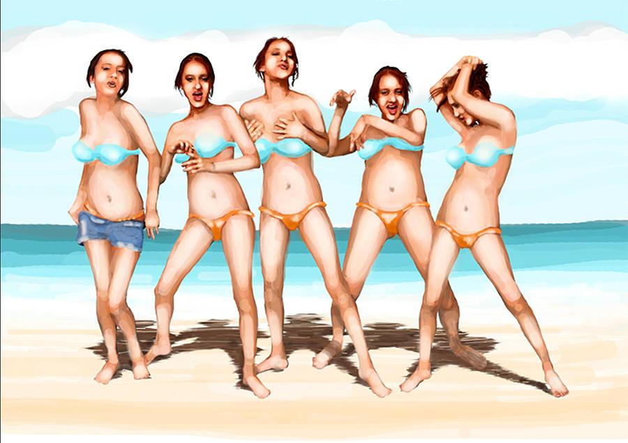 Girls Dancing At The Beach Digital Art by Leo Malboeuf