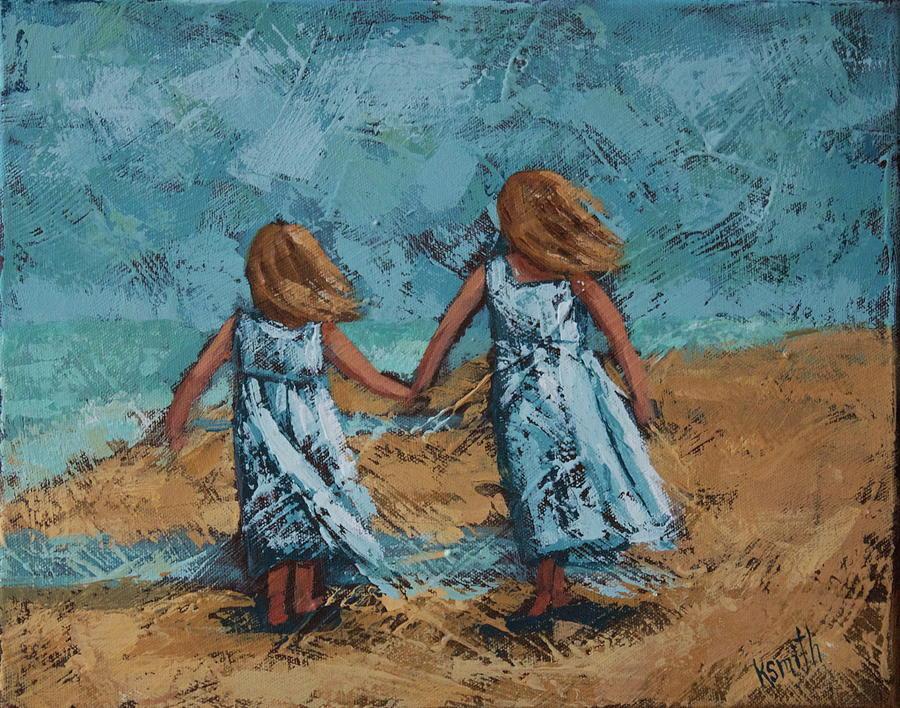 Girls On Beach Painting - Girls In White Dresses by Karen Smith