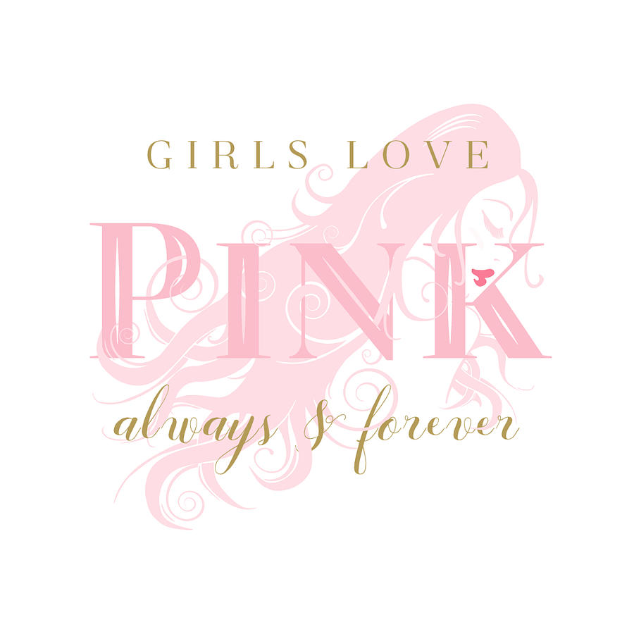 Girls Love Pink Woman Silhouette by Tracie Kaska
