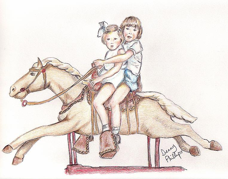Girls Drawing - Girls On Mechanical Horse by Denny Phillips