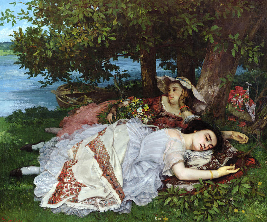 Girls Painting - Girls On The Banks Of The Seine by Gustave Courbet