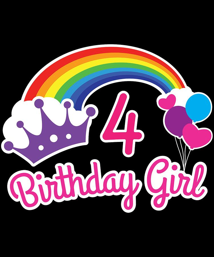 Girls Rainbow Princess 4th Birthday Shirt Party Digital Art By