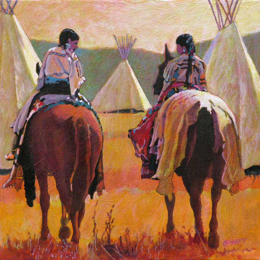 Native Painting - Girls Riding by Robert Bissett