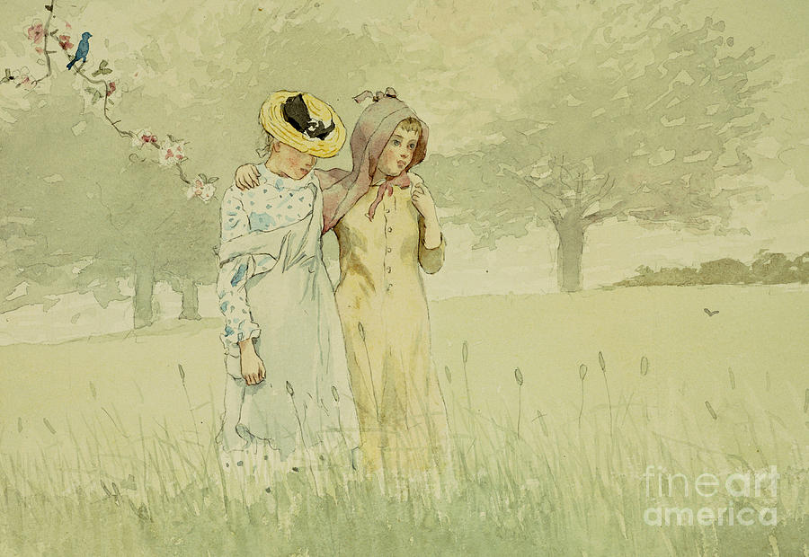 Girls Strolling In An Orchard Painting - Girls Strolling In An Orchard by Winslow Homer