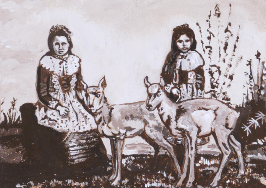 Western Painting - Girls With Pronghorn Fawns Historical Vignette From River Mural by Dawn Senior-Trask