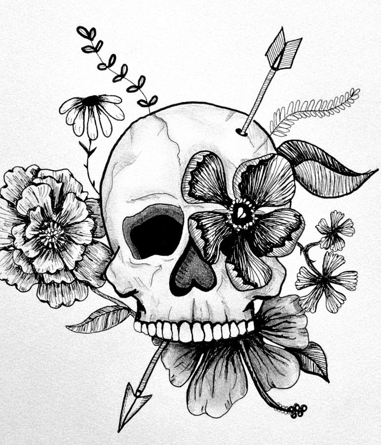 Girly Skull Drawing By Kelly Bowers