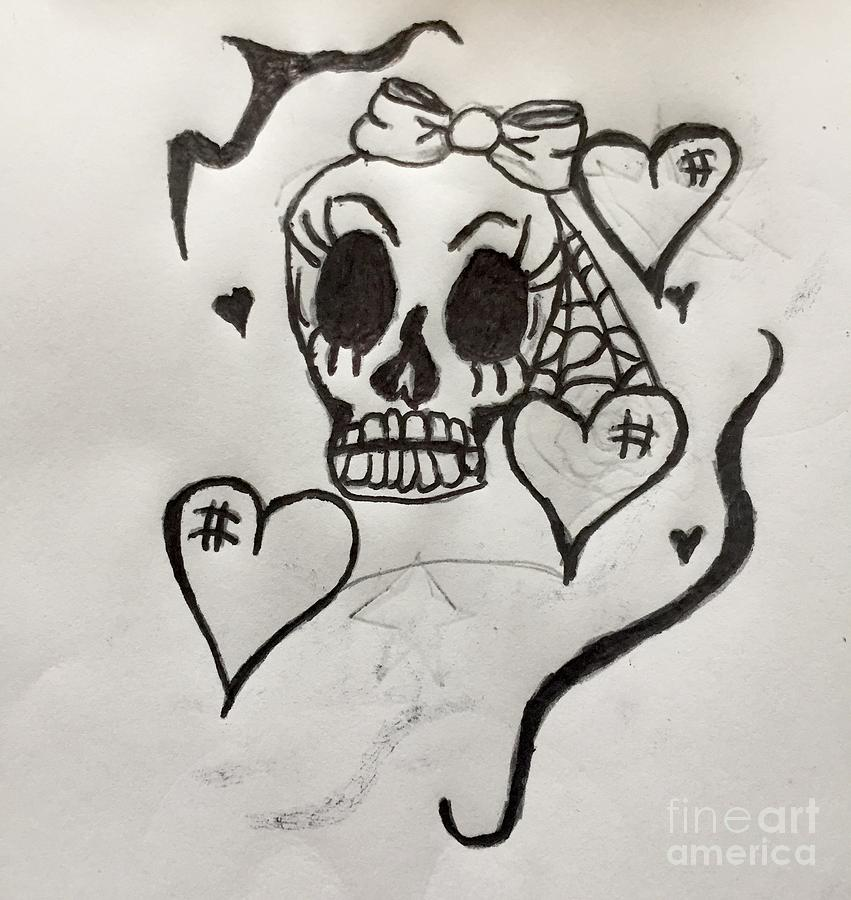 Girly Skull Tattoo Art Drawing By Shylee Charlton