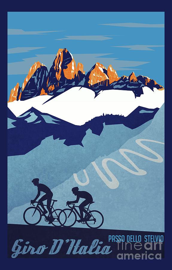 Giro D'italia Painting - Giro Ditalia Cycling Poster by Sassan Filsoof