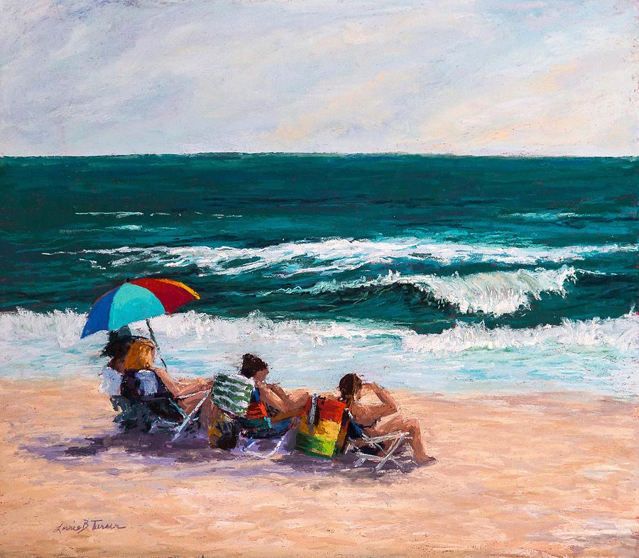 Lorrie Painting - Girsl On The Beach by Lorrie Turner