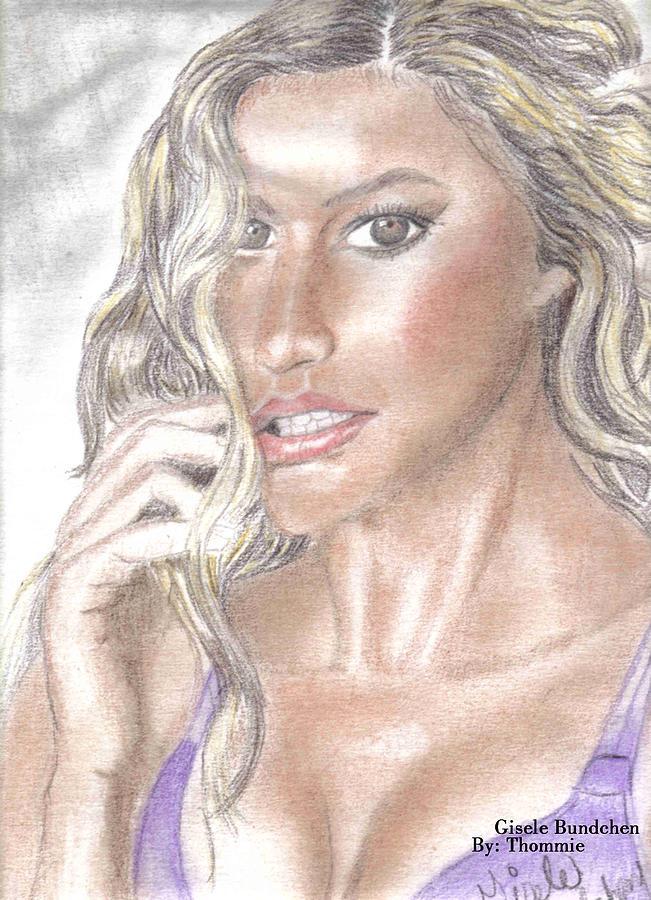 Portrait Drawing - Gisele Bundchen by Thomasina Marks