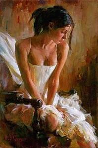 Woman Sitting Painting - Giselle by Michael Garmash