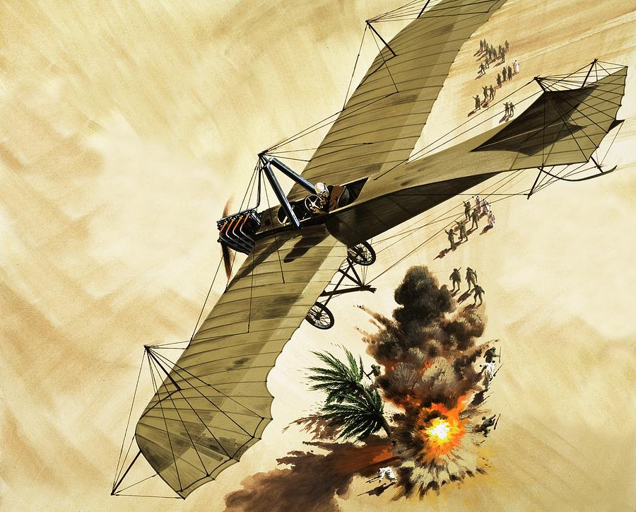 Aircraft Painting - Giulio Gavotti drops the first bomb from a plane by Wilf Hardy
