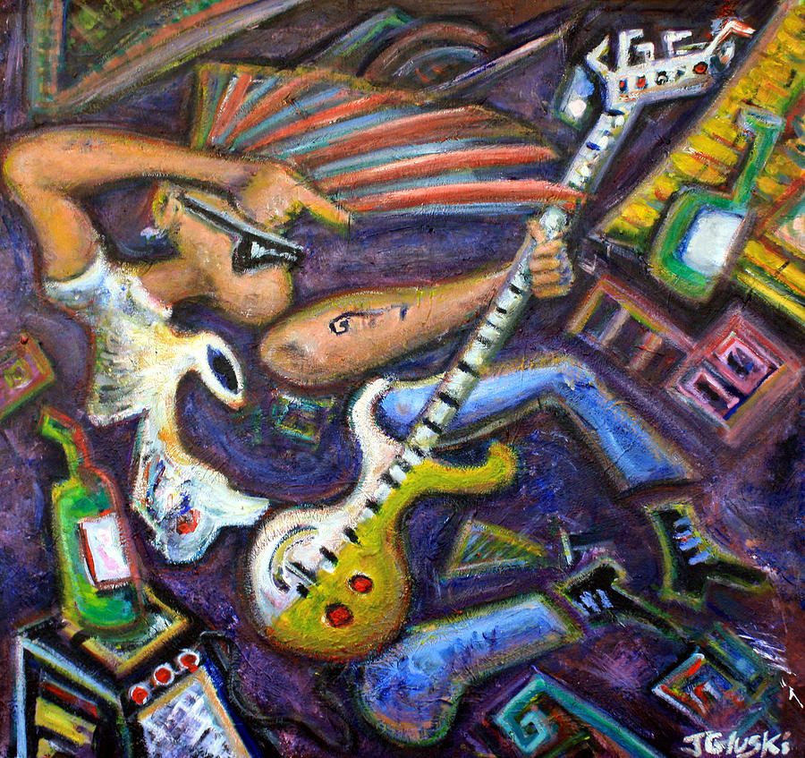 Punk Rockers Painting - Give Em The Boot - Punk Rock Cubism by Jason Gluskin