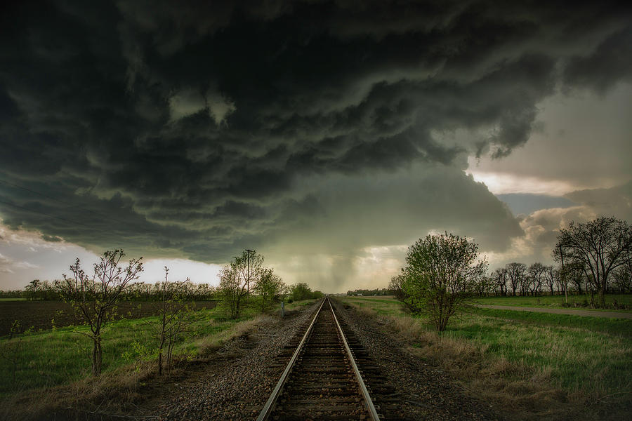 Give Me Shelter Storm Over Railroad Tracks Near Salina