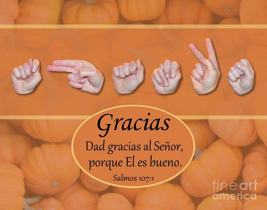 Christian Photograph - Give Thanks Spanish by Masters Hand Collection