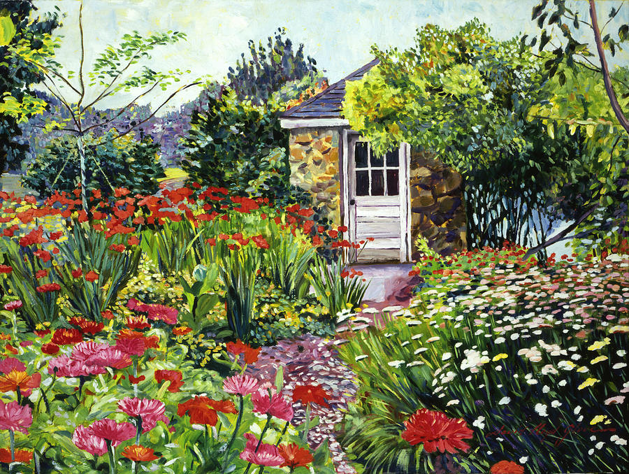 Gardens Painting - Giverny Gardeners House by David Lloyd Glover