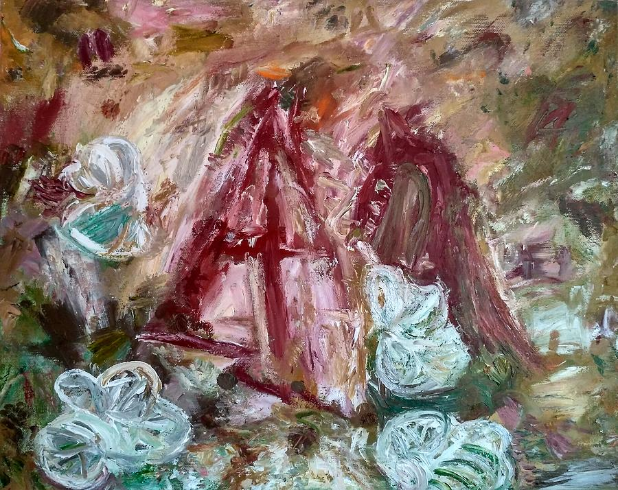 Expressionism Painting - Giving by Apostolos Papakonstantis
