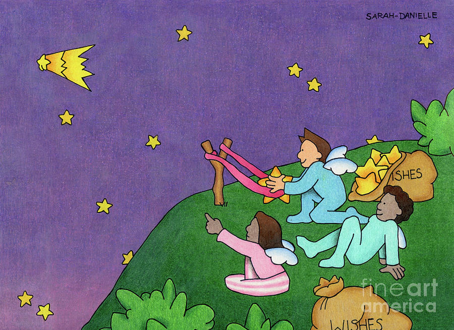 Angels Drawing - Giving Wishes Wings by Sarah Batalka