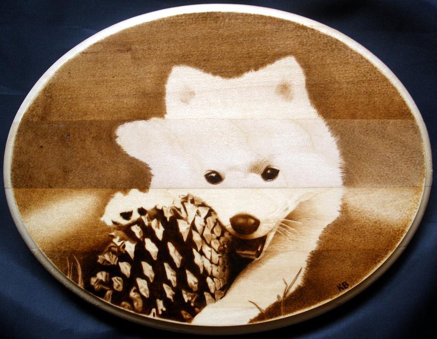 Dog Pyrography - Gizmo by Karl Blatch