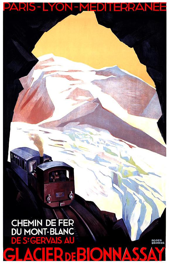 Glacier De Bionnassay Painting - Glacier De Bionnassay, Railway, France by Long Shot