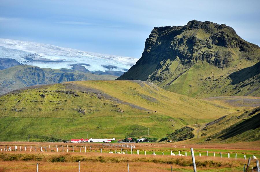 Iceland Photograph - Glacier Mountains Meadows Farm by David Halperin