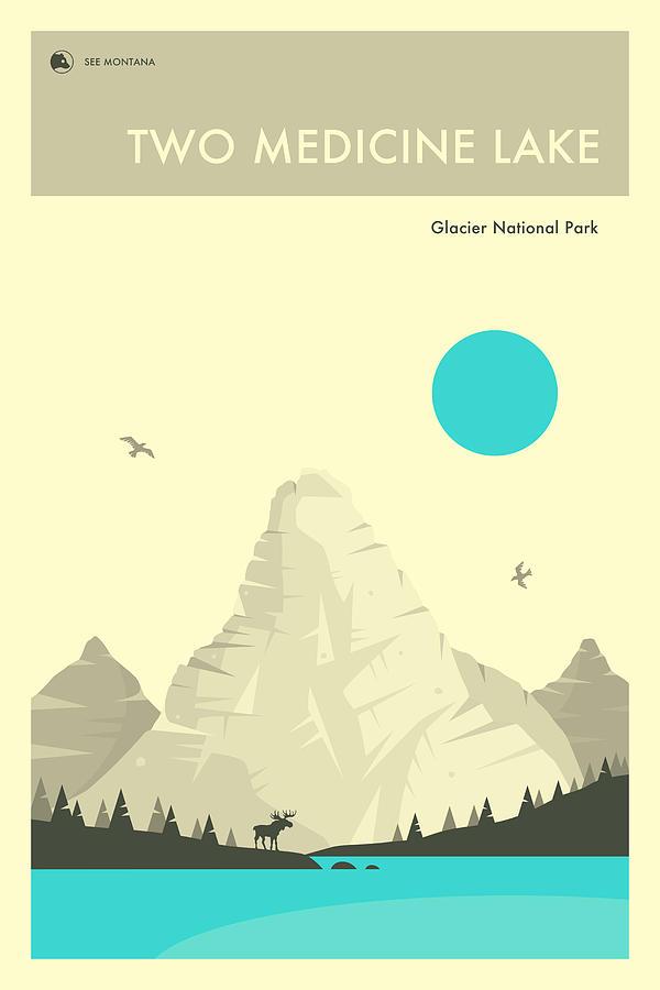 National Park Digital Art - Two Medicine Lake by Jazzberry Blue